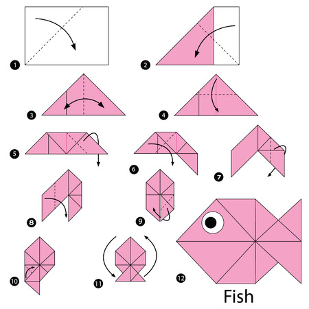 step by step instructions how to make origami A Fish Vector illustration.