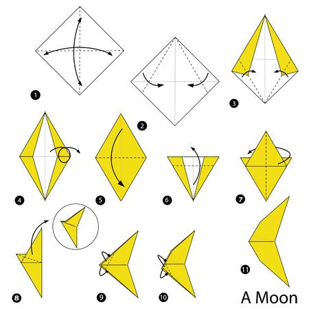 stap voor stap instructies om origami een maan vectorillustratie te maken.