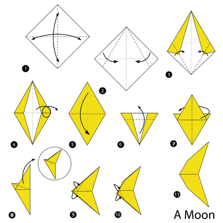 step by step instructions how to make origami A Moon Vector illustration.