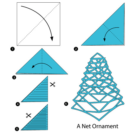 step by step instructions how to make origami A Net Ornament Vector illustration. Illustration