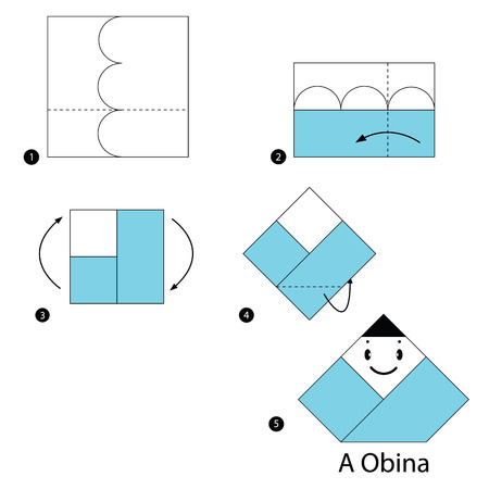 step by step instructions how to make origami A Japanese doll Vector illustration. Illustration