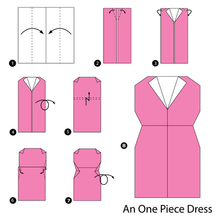 step by step instructions how to make origami A One Piece Dress Vector illustration. Illustration