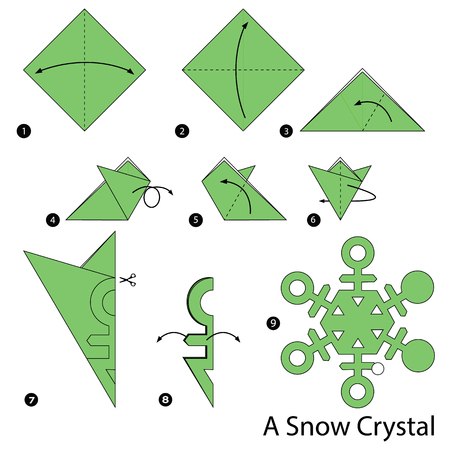 Step by step instructions how to make origami A Snow Crystal