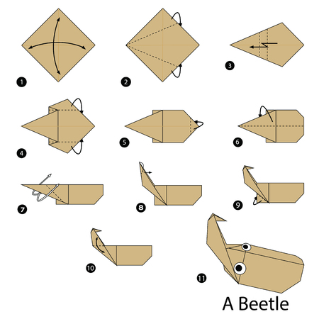 step by step instructions how to make origami of a Beetle