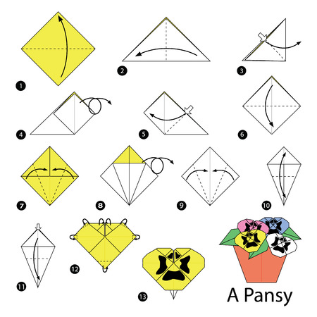 step by step instructions how to make origami of a Pansy Illustration