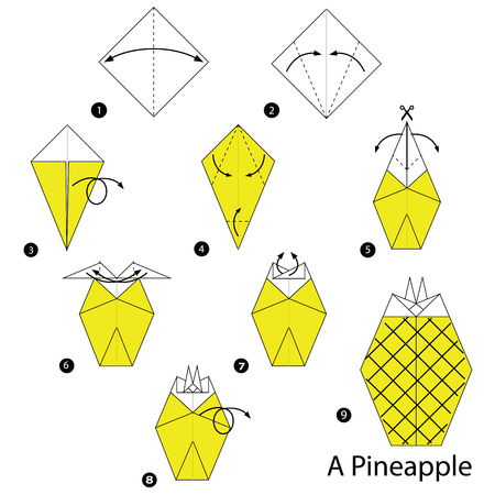 step by step instructions how to make origami A Pineapple