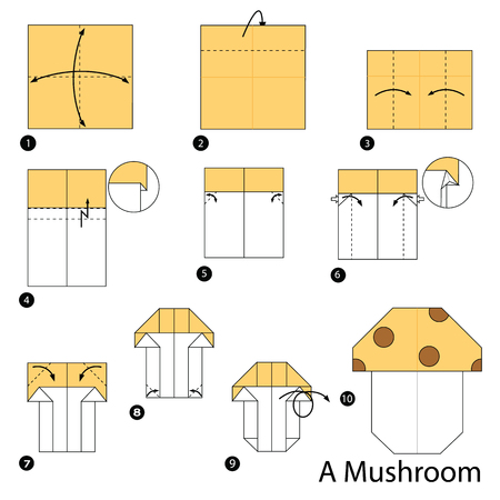 step by step instructions how to make origami A Mushroom