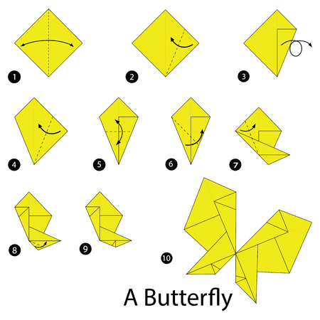stap voor stap instructies om origami A Butterfly te maken Vector Illustratie