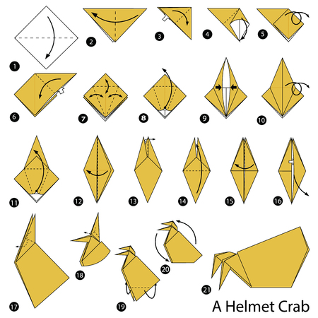 step by step instructions how to make origami A Helmet Crab