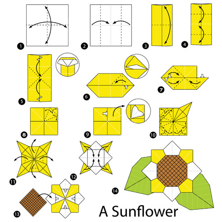 step by step instructions how to make origami A Sunflower Illustration