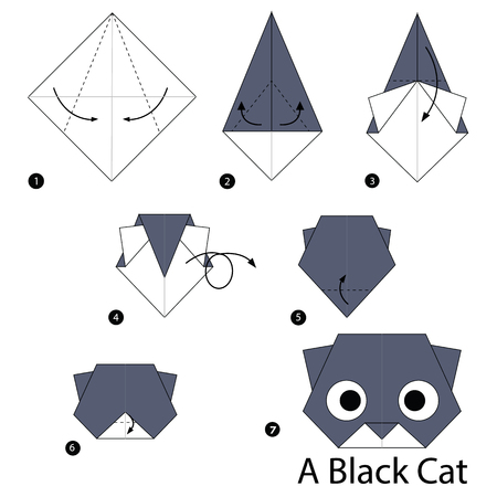 step by step instructions how to make origami A Black Cat Stock Illustratie