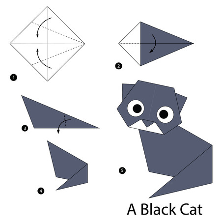 step by step instructions how to make origami A Black Cat Illustration