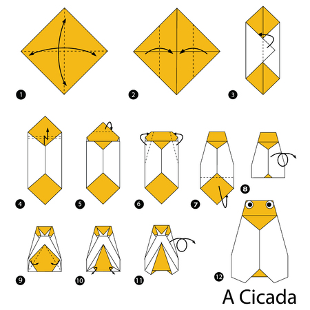 step by step instructions how to make origami A Cicada