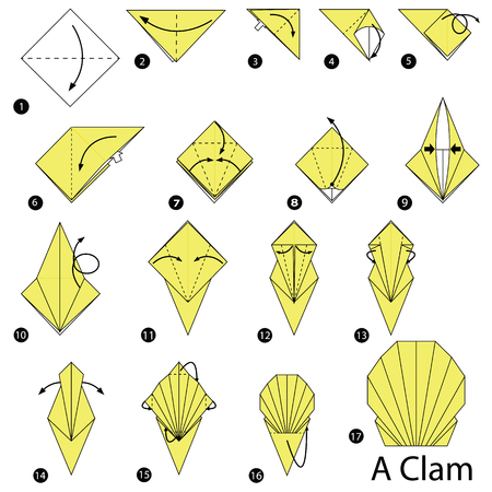 step by step instructions how to make origami A Clam Illustration