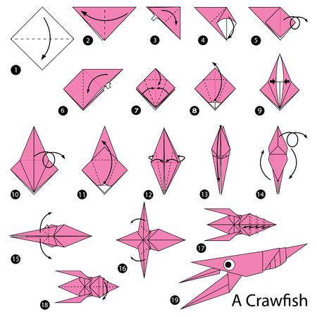 step by step instructions how to make origami A Craw fish