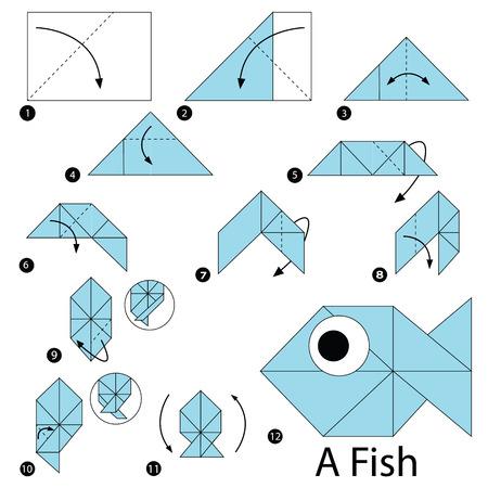 Schritt für Schritt Anleitung, wie man Origami zu einem Fisch macht A Vektorgrafik