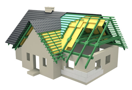 warm house: cross-section with insulation home