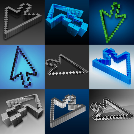 Nine images with the cursor arrows on different backgrounds Standard-Bild