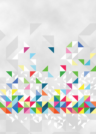 Light modern artwork with colored triangles on a gray background