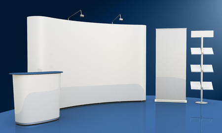 exhibition: Render commercial stands, display of products at the fair Stock Photo
