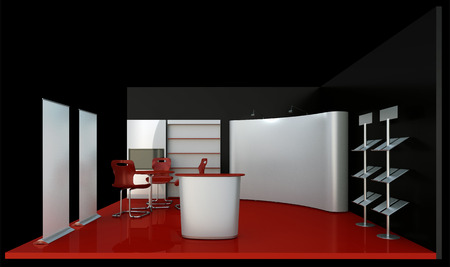 render commercial stands, display of products at the fair Standard-Bild