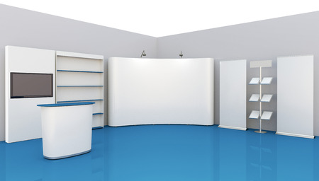 business exhibition: Render commercial stands, display of products at the fair Stock Photo
