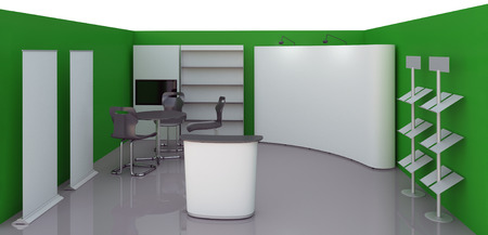 exhibition stand: Render commercial stands, display of products at the fair Stock Photo