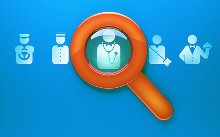 see a doctor: Illustration of search workers of different professions