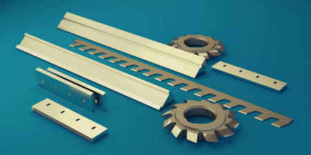 guillotine: Illustration showing the different types of industrial knives Stock Photo