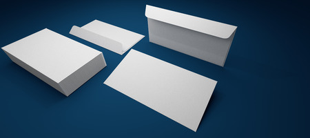 formats: envelope template laid on a blue background Stock Photo