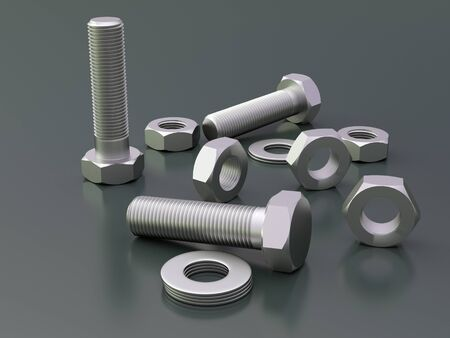 Dark background with bolts and nuts
