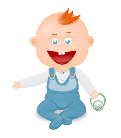 crawling: illustration of a smiling little boy at play