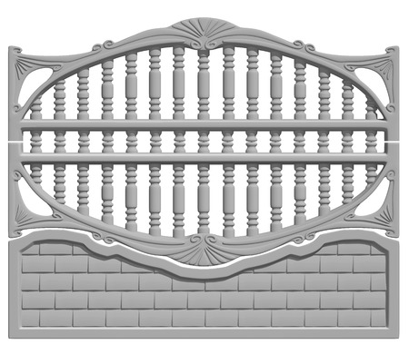 Illustration of a concrete fence on white background, product image to be included in the catalog