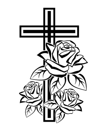 Black and white illustration of a crucifix contours with roses