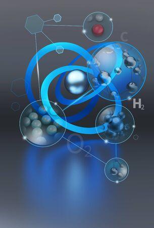 wasserstoff: Illustration Collage mit einem Hauch von Chemie
