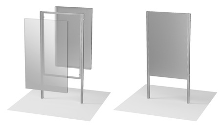 outdoor advertising construction: 3d illustration of a steel frame made of metal signboard