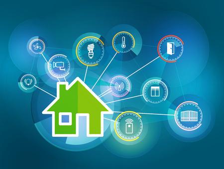 electricidad: Ilustración de los iconos que simbolizan la casa inteligente