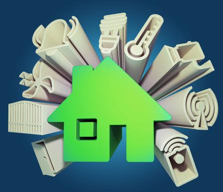3d render illustration of icons symbolizing the smart home