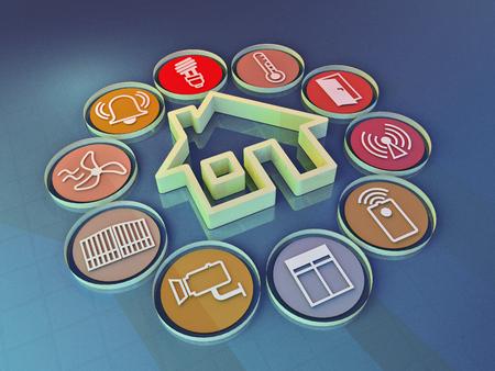 render: 3d render illustration of icons symbolizing the smart home