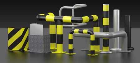 3D render metal corner protectors and protective bars