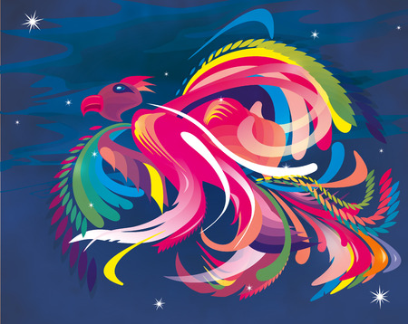 abstract illustration of a colorful bird Standard-Bild