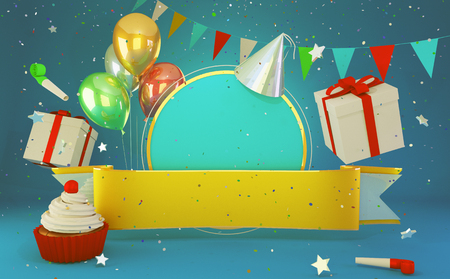 Happy birthday greeting card  with congratulations cake balloons and party