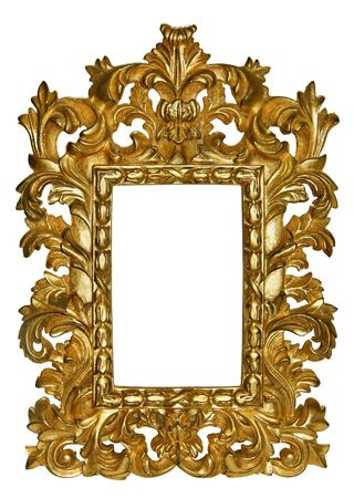 wood carving: Picture gold frame with beautiful carving Stock Photo