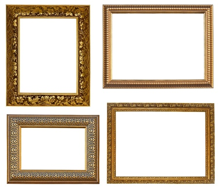 Collection picture gold frames with a decorative pattern Stock Photo - 9334532