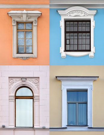 old building facade: Collection of old windows in different architectural styles Stock Photo