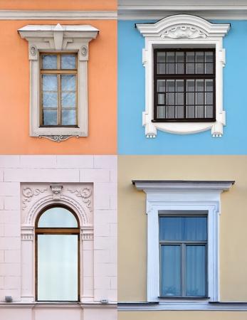 stucco facade: Raccolta di vecchie finestre in vari stili architettonici