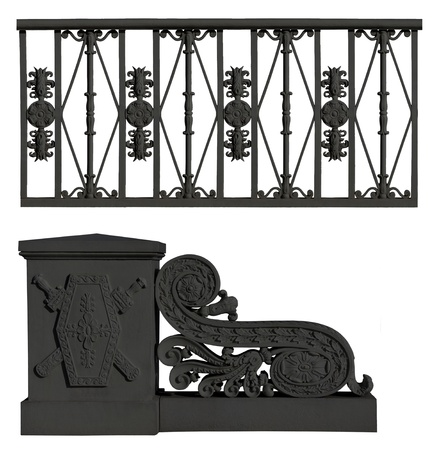 Wrought iron fence and pedestal with flowers. Set photo