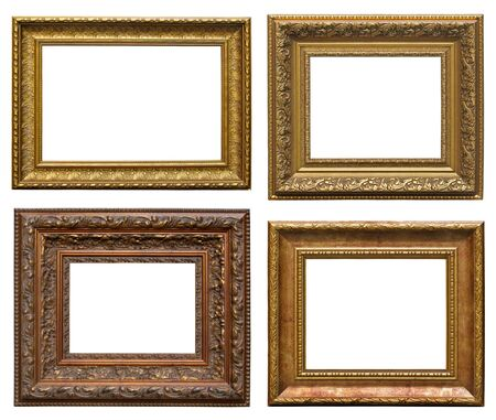 Collection picture gold frames with decorative pattern  photo