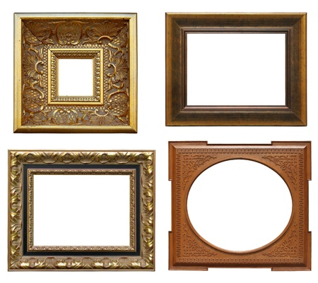 Collection picture gold frames with decorative pattern Stock Photo - 9357054