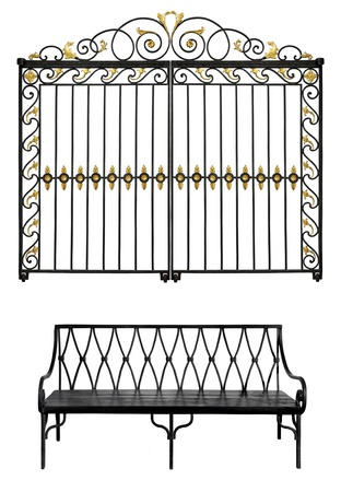 Black forged gate with gold flowers and old bench isolated on white background